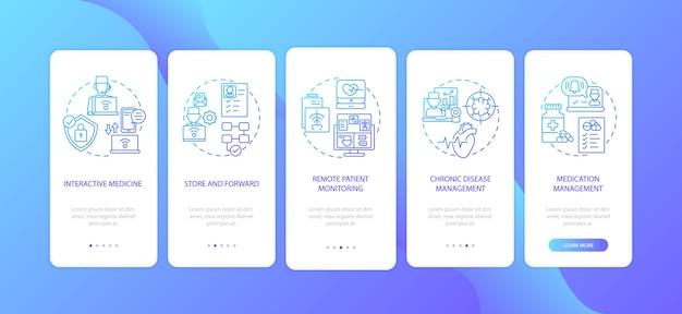 Telemedicine-services typen onboarding mobiele app-paginascherm met concepten