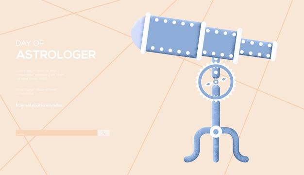 Telescoop concept flyer, webbanner, ui-header, site invoeren. korreltextuur en ruiseffect.