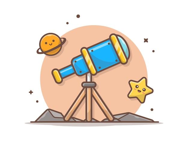 Telescoop met schattige planeet en schattige sterpictogram illustratie