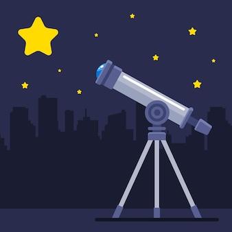 Telescoop observeert een grote gele ster. de ontdekking van een nieuwe planeet. platte vectorillustratie.