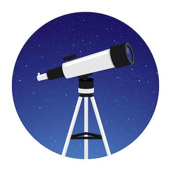 Telescoop voor astronomie met ronde nachtelijke hemel