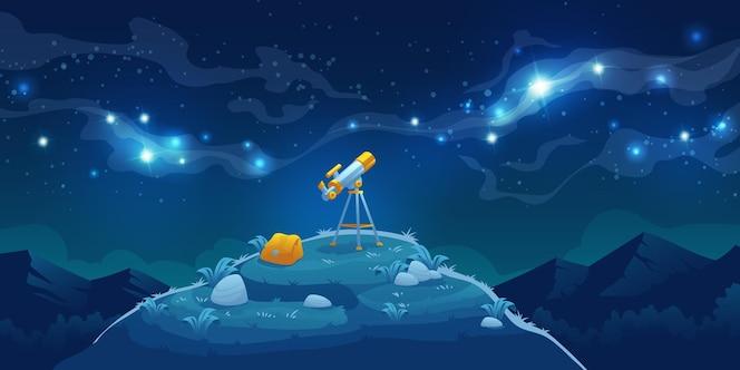 Telescoop voor wetenschappelijke ontdekking, sterren en planeten in de ruimte bekijken