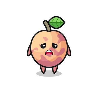 Teleurgestelde uitdrukking van de pluotfruit-cartoon, schattig stijlontwerp voor t-shirt, sticker, logo-element