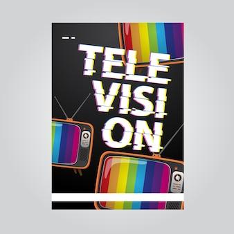 Televisie folder sjabloon met glitch brief concept