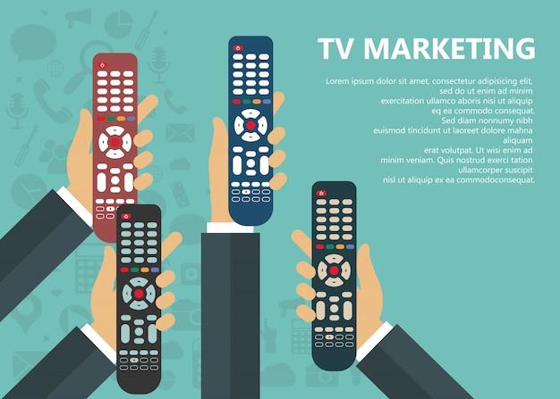 Televisie marketing concept