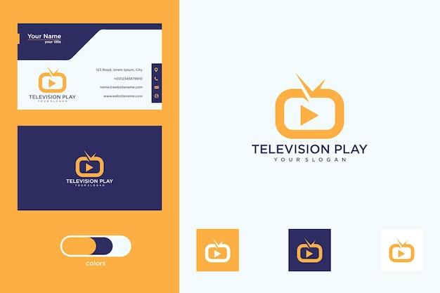 Televisie speel logo-ontwerp en visitekaartje