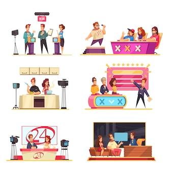 Televisiespelshow 6 cartooncomposities met gastheren deelnemers puzzels oplossen vragen beantwoorden zanger jury