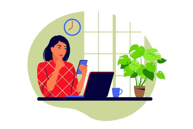 Telewerken concept. freelancer die vanuit huis werkt. vector illustratie. vlak.