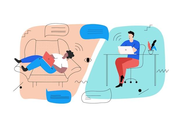 Telewerken concept met mensen