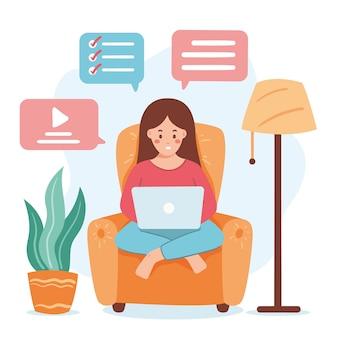 Telewerken concept met vrouw op fauteuil