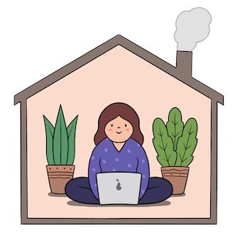 Telewerken thuiswerken concept