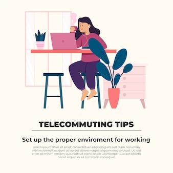 Telewerken tips concept