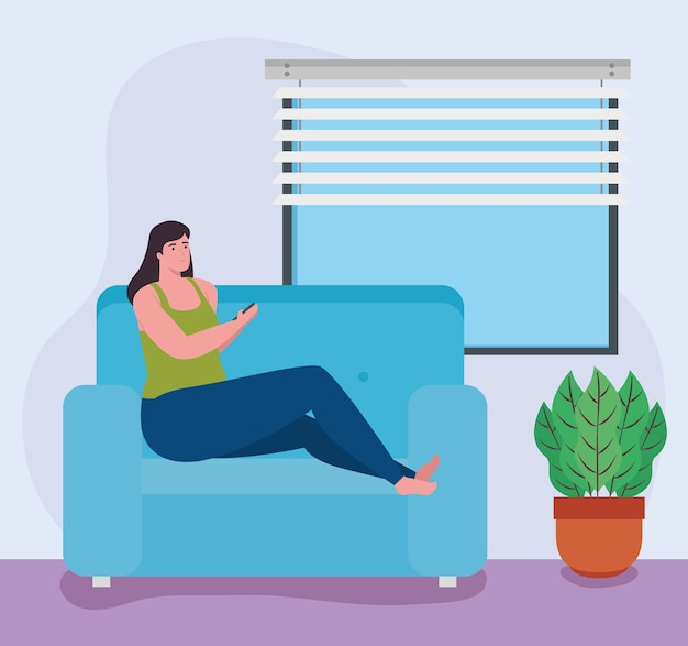 Telewerken, vrouw zittend op de bank, thuiswerken.
