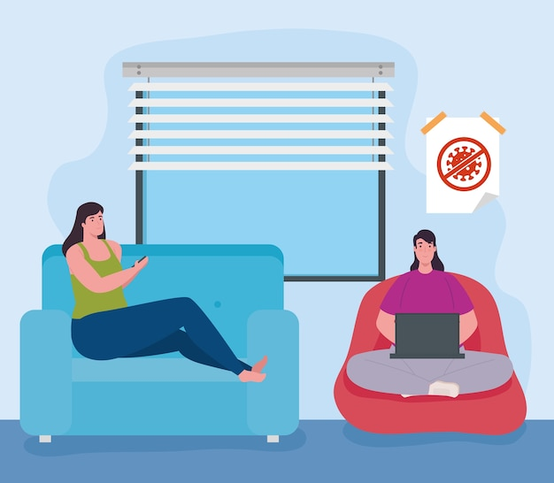 Telewerken, vrouwen in de huiskamer, thuiswerken.