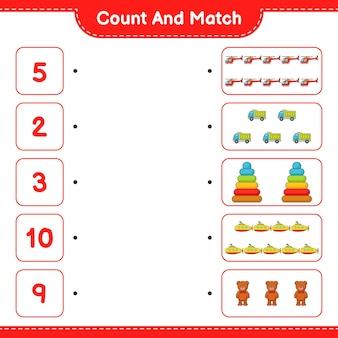 Tellen en match tellen het aantal helicopter vrachtwagen piramide toy submarine teddy bear