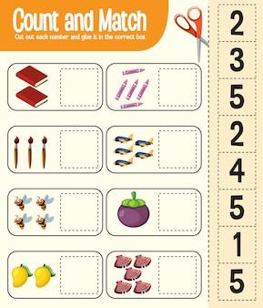 Tellen en matchen, wiskunde-werkblad voor kinderen
