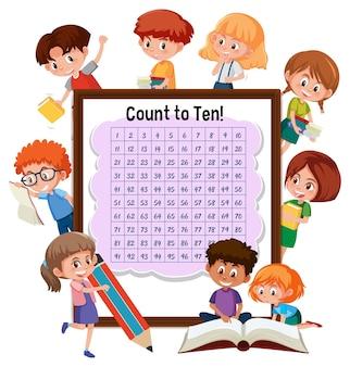Tellen nummer 1-100 bord met veel kinderen