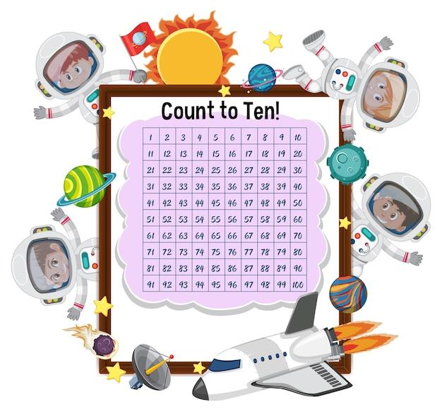 Tellend nummer 1-100 bord met veel kinderen in astronautenkostuum