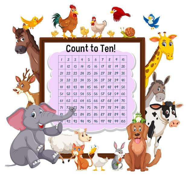Telnummer 1-100 bord met wilde dieren