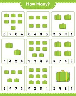 Telspel, hoeveel bagage. educatief spel voor kinderen, afdrukbaar werkblad