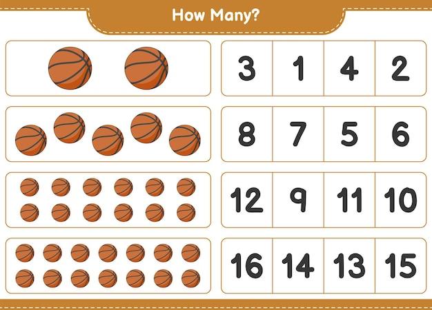 Telspel, hoeveel basketbal. educatief spel voor kinderen, afdrukbaar werkblad, vectorillustratie