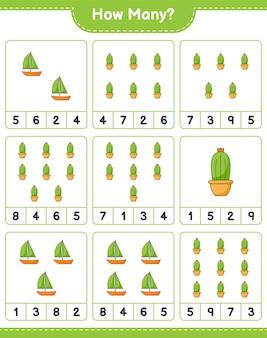 Telspel, hoeveel cactus. educatief spel voor kinderen, afdrukbaar werkblad