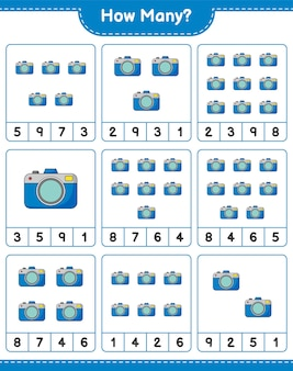 Telspel, hoeveel camera. educatief spel voor kinderen, afdrukbaar werkblad