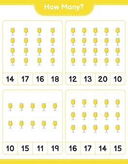 Telspel, hoeveel cocktail. educatief spel voor kinderen, afdrukbaar werkblad