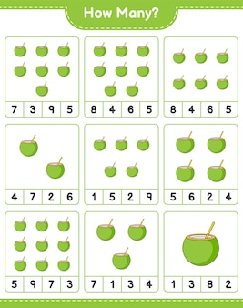 Telspel, hoeveel coconut. educatief spel voor kinderen, afdrukbaar werkblad