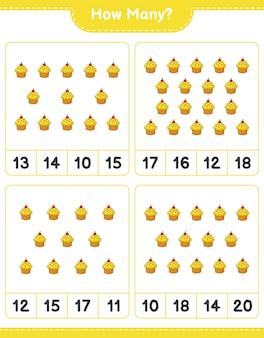 Telspel, hoeveel cup cake. educatief spel voor kinderen, afdrukbaar werkblad