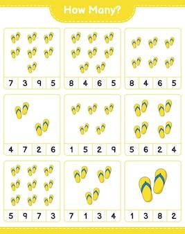 Telspel, hoeveel flip flop. educatief spel voor kinderen, afdrukbaar werkblad