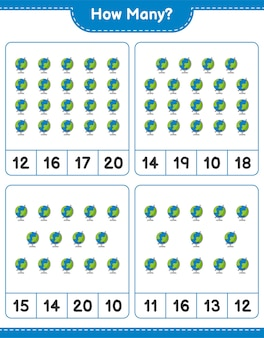 Telspel, hoeveel globe. educatief spel voor kinderen, afdrukbaar werkblad