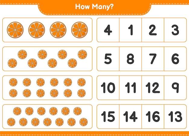 Telspel, hoeveel oranje. educatief spel voor kinderen, afdrukbaar werkblad