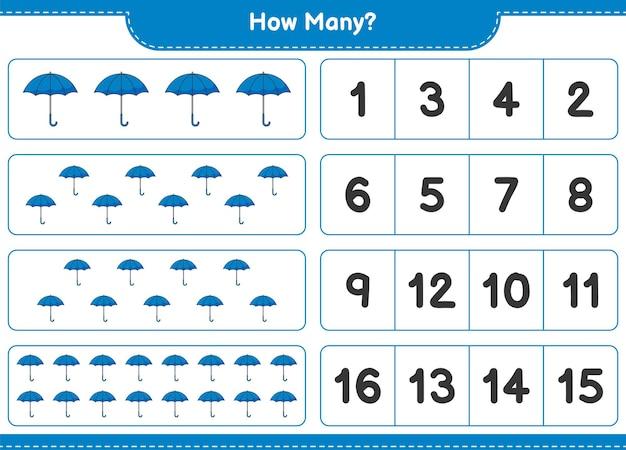 Telspel, hoeveel paraplu. educatief spel voor kinderen, afdrukbaar werkblad