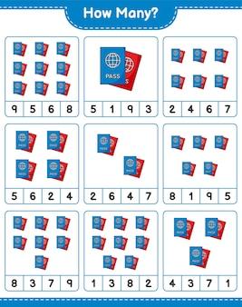 Telspel, hoeveel paspoort. educatief spel voor kinderen, afdrukbaar werkblad
