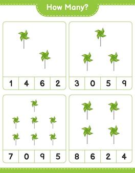 Telspel, hoeveel pinwheels. educatief spel voor kinderen, afdrukbaar werkblad