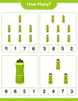 Telspel hoeveel sport water bottle educatief kinderspel afdrukbaar werkblad