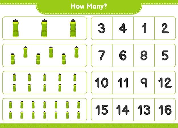 Telspel, hoeveel sport water bottle. educatief spel voor kinderen, afdrukbaar werkblad, vectorillustratie