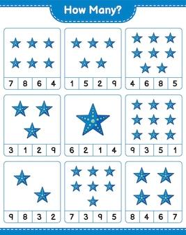 Telspel, hoeveel starfish. educatief spel voor kinderen, afdrukbaar werkblad
