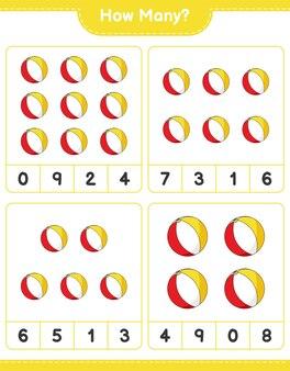 Telspel, hoeveel strandbal. educatief spel voor kinderen, afdrukbaar werkblad
