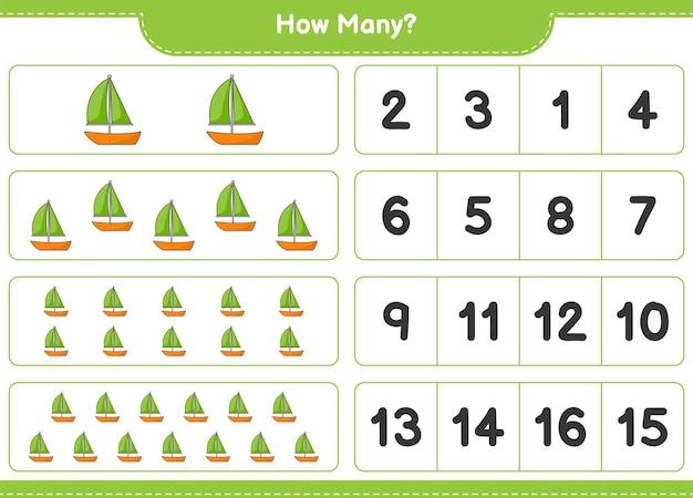 Telspel, hoeveel zeilboot. educatief spel voor kinderen, afdrukbaar werkblad