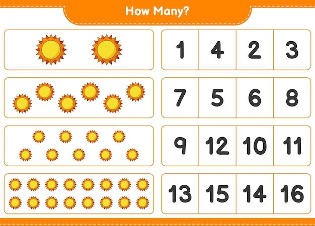 Telspel, hoeveel zon. educatief spel voor kinderen, afdrukbaar werkblad