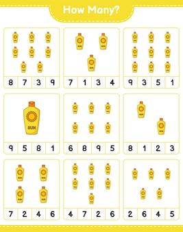 Telspel, hoeveel zonnebrandcrème. educatief spel voor kinderen, afdrukbaar werkblad