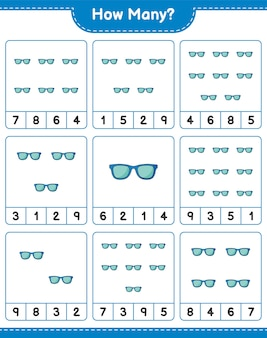 Telspel, hoeveel zonnebril. educatief spel voor kinderen, afdrukbaar werkblad