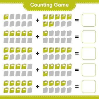 Telspel, tel het aantal boeken en schrijf het resultaat. educatief spel voor kinderen, afdrukbaar werkblad