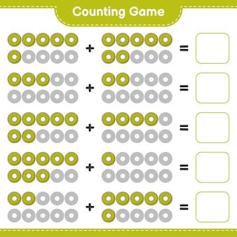 Telspel, tel het aantal donuts en schrijf het resultaat op. educatief spel voor kinderen, afdrukbaar werkblad