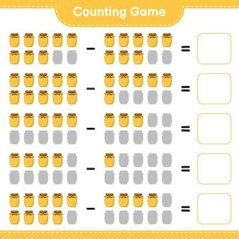 Telspel, tel het aantal jam en schrijf het resultaat. educatief spel voor kinderen, afdrukbaar werkblad