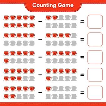 Telspel, tel het aantal koffiekopjes en schrijf het resultaat. educatief spel voor kinderen, afdrukbaar werkblad