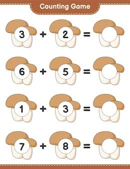 Telspel, tel het aantal mushroom boletus en schrijf het resultaat op. educatief spel voor kinderen, afdrukbaar werkblad