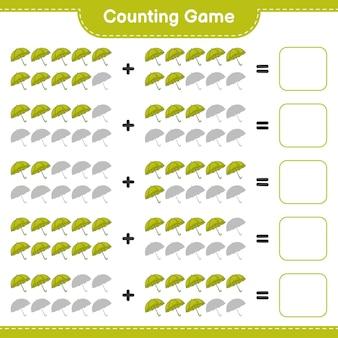Telspel, tel het aantal paraplu's en schrijf het resultaat. educatief spel voor kinderen, afdrukbaar werkblad